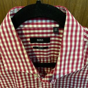 Hugh boss shirt red and white squares
